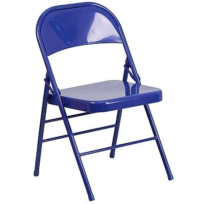Flash Furniture HERCULES COLORBURST Series Cobalt Blue Triple Braced & Double Hinged Metal Folding Chair (HF3-BLUE-GG)
