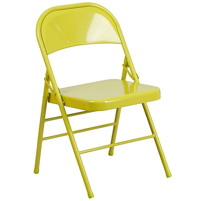 Flash Furniture HERCULES COLORBURST Series Twisted Citron Triple Braced & Double Hinged Metal Folding Chair (HF3-CITRON-GG)