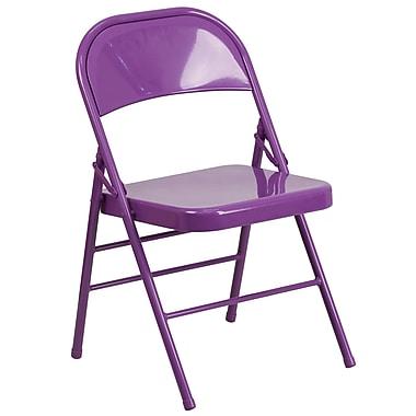 Flash Furniture – Chaise pliante en métal HERCULES COLORBURST à double pivot et triple renfort, violet impulsif (HF3-PUR-GG)