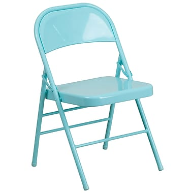 Flash Furniture – Chaise pliante en métal HERCULES COLORBURST à double pivot et triple renfort, bleu sarcelle (HF3-TEAL-GG)