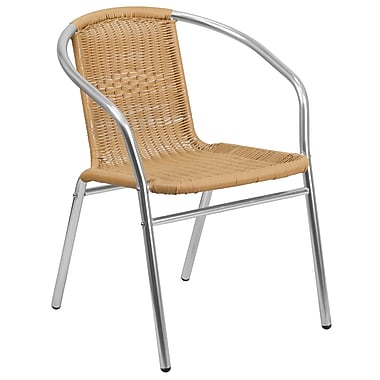 Flash Furniture Aluminum and Rattan Commercial Indoor-Outdoor Restaurant Stack Chair (TLH-020-BGE-GG)