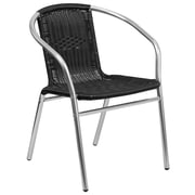 Flash Furniture Aluminum and Black Rattan Commercial Indoor-Outdoor Restaurant Stack Chair (TLH-020-BK-GG)