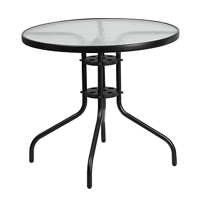 Flash Furniture 31.5'' Round Tempered Glass Metal Table (TLH-070-2-GG)