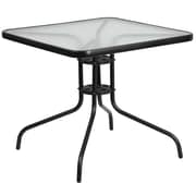 Flash Furniture 31.5'' Square Tempered Glass Metal Table (TLH-073A-2-GG)