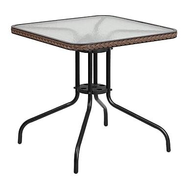 Flash Furniture – Table carrée en verre trempé et en métal de 28 po avec bordure en rotin brun foncé (TLH-073R-DK-BN-GG)
