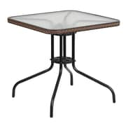 Flash Furniture 28'' Square Tempered Glass Metal Table with Dark Brown Rattan Edging (TLH-073R-DK-BN-GG)