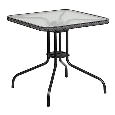 Flash Furniture 28'' Square Tempered Glass Metal Table with Grey Rattan Edging (TLH-073R-GY-GG)