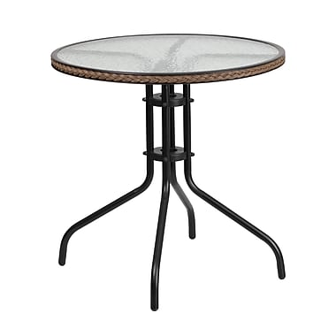 Flash Furniture 28'' Round Tempered Glass Metal Table with Dark Brown Rattan Edging (TLH-087-DK-BN-GG)