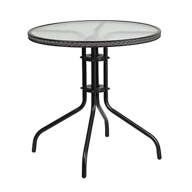 Flash Furniture 28'' Round Tempered Glass Metal Table with Grey Rattan Edging (TLH-087-GY-GG)