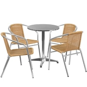 Flash Furniture 23.5'' Round Aluminum Indoor-Outdoor Table with 4 Beige Rattan Chairs (TLH-ALUM-24RD-020BGECHR4-GG)