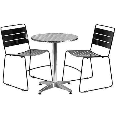 Flash Furniture 23.5'' Round Aluminum Indoor-Outdoor Table with 2 Black Metal Stack Chairs (TLH-ALUM-24RD-HA1BK2-GG)
