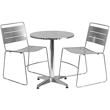 Flash Furniture – Table ronde (23,5po) en aluminium et 2 chaises empilables en métal argenté, int/ext (TLH-ALUM-24RD-HA1SIL2-GG)