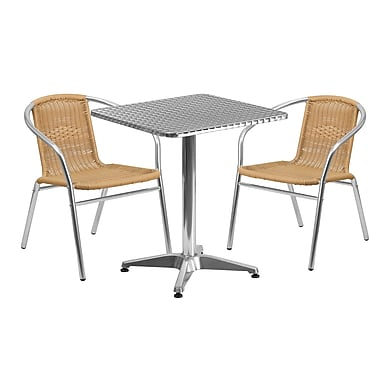 Flash Furniture 23.5'' Square Aluminum Indoor-Outdoor Table with 2 Rattan Chairs (TLH-ALUM-24SQ-020BGECHR2-GG)