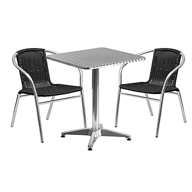Flash Furniture 23.5'' Square Aluminum Indoor-Outdoor Table with 2 Black Rattan Chairs (TLH-ALUM-24SQ-020BKCHR2-GG)