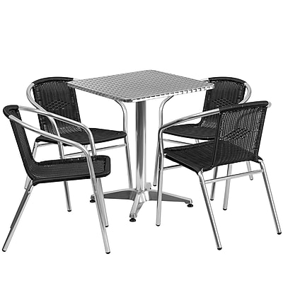 Flash Furniture 23.5'' Square Aluminum Indoor-Outdoor Table with 4 Black Rattan Chairs (TLH-ALUM-24SQ-020BKCHR4-GG)