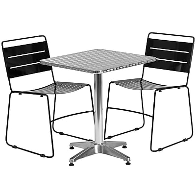 Flash Furniture 23.5'' Square Aluminum Indoor-Outdoor Table with 2 Black Metal Stack Chairs (TLH-ALUM-24SQ-HA1BK2-GG)