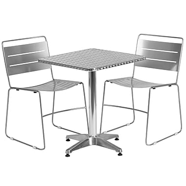 Flash Furniture – Table carrée de 23,5 po en aluminium/2 chaises empilables en métal argenté, int/ext (TLH-ALUM-24SQ-HA1SIL2-GG)