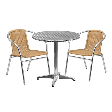 Flash Furniture 27.5'' Round Aluminum Indoor-Outdoor Table with 2 Rattan Chairs (TLH-ALUM-28RD-020BGECHR2-GG)