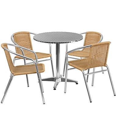 Flash Furniture 27.5'' Round Aluminum Indoor-Outdoor Table with 4 Beige Rattan Chairs (TLH-ALUM-28RD-020BGECHR4-GG)