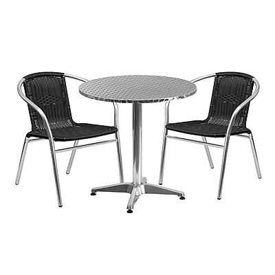 Flash Furniture 27.5'' Round Aluminum Indoor-Outdoor Table with 2 Black Rattan Chairs (TLH-ALUM-28RD-020BKCHR2-GG)