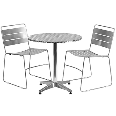 Flash Furniture 27.5'' Round Aluminum Indoor-Outdoor Table with 2 Silver Metal Stack Chairs (TLH-ALUM-28RD-HA1SIL2-GG)