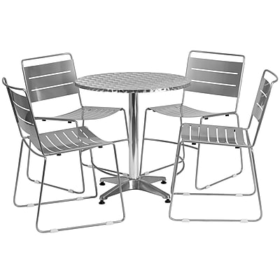 Flash Furniture 27.5'' Round Aluminum Indoor-Outdoor Table with 4 Silver Metal Stack Chairs (TLH-ALUM-28RD-HA1SIL4-GG)
