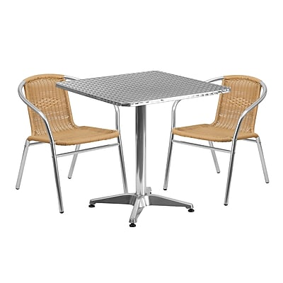 Flash Furniture 27.5'' Square Aluminum Indoor-Outdoor Table with 2 Beige Rattan Chairs (TLH-ALUM-28SQ-020BGECHR2-GG)