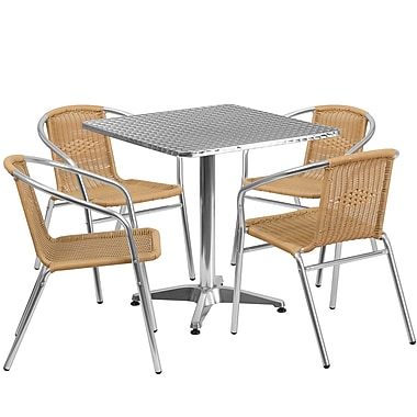 Flash Furniture 27.5'' Square Aluminum Indoor-Outdoor Table with 4 Rattan Chairs (TLH-ALUM-28SQ-020BGECHR4-GG)