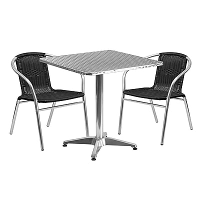 Flash Furniture 27.5'' Square Aluminum Indoor-Outdoor Table with 2 Black Rattan Chairs (TLH-ALUM-28SQ-020BKCHR2-GG)