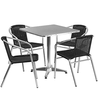 Flash Furniture 27.5'' Square Aluminum Indoor-Outdoor Table with 4 Black Rattan Chairs (TLH-ALUM-28SQ-020BKCHR4-GG)