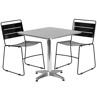 Flash Furniture 27.5'' Square Aluminum Indoor-Outdoor Table with 2 Black Metal Stack Chairs (TLH-ALUM-28SQ-HA1BK2-GG)