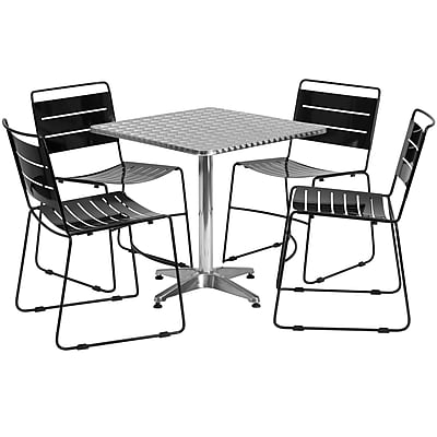 Flash Furniture 27.5'' Square Aluminum Indoor-Outdoor Table with 4 Black Metal Stack Chairs (TLH-ALUM-28SQ-HA1BK4-GG)