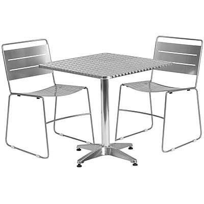 Flash Furniture 27.5'' Square Aluminum Indoor-Outdoor Table with 2 Silver Metal Stack Chairs (TLH-ALUM-28SQ-HA1SIL2-GG)