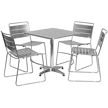 Flash Furniture 27.5'' Square Aluminum Indoor-Outdoor Table with 4 Silver Metal Stack Chairs (TLH-ALUM-28SQ-HA1SIL4-GG)