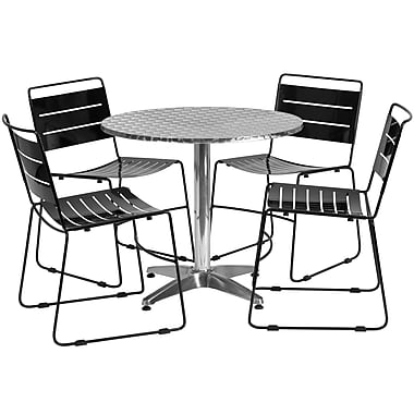 Flash Furniture – Table ronde de 31,5 po en aluminium et 4 chaises empilables noires en métal, int/ext (TLH-ALUM-32RD-HA1BK4-GG)