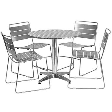 Flash Furniture – Table ronde de 31,5 po en aluminium, 4 chaises empilables métal argenté, int/ext (TLH-ALUM-32RD-HA1SIL4-GG)