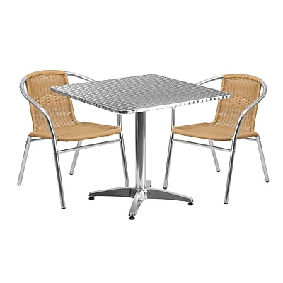 Flash Furniture 31.5'' Square Aluminum Indoor-Outdoor Table with 2 Beige Rattan Chairs (TLH-ALUM-32SQ-020BGECHR2-GG)