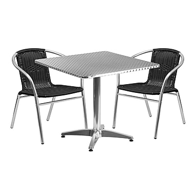 Flash Furniture 31.5'' Square Aluminum Indoor-Outdoor Table with 2 Black Rattan Chairs (TLH-ALUM-32SQ-020BKCHR2-GG)