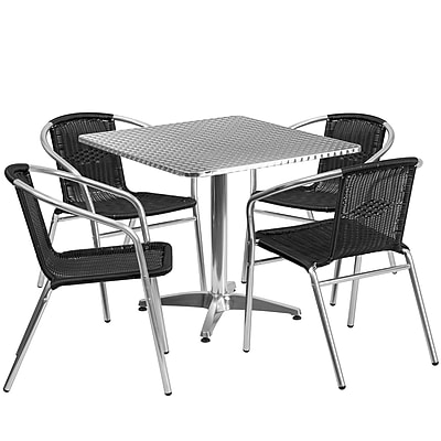 Flash Furniture 31.5'' Square Aluminum Indoor-Outdoor Table with 4 Black Rattan Chairs (TLH-ALUM-32SQ-020BKCHR4-GG)