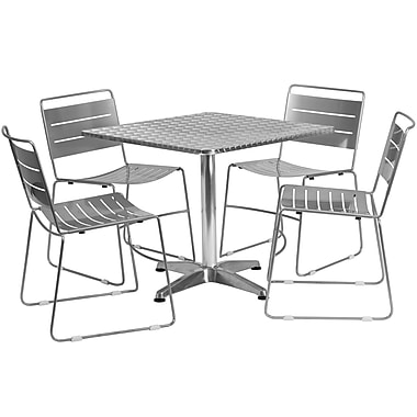 Flash Furniture 31.5'' Square Aluminum Indoor-Outdoor Table with 4 Silver Metal Stack Chairs (TLH-ALUM-32SQ-HA1SIL4-GG)