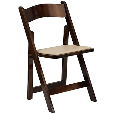 Flash Furniture HERCULES Series Fruitwood Wood Folding Chair with Vinyl Padded Seat (XF-2903-FRUIT-WOOD-GG)