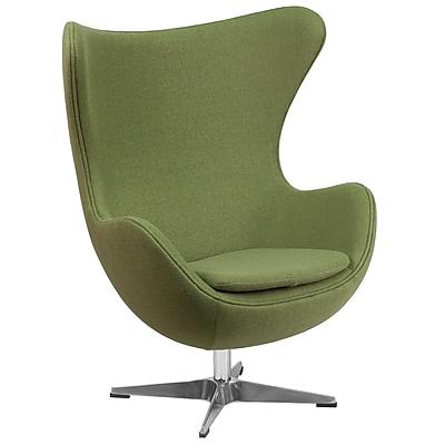 Flash Furniture Grass Green Wool Fabric Egg Chair with Tilt-Lock Mechanism (ZB-19-GG)