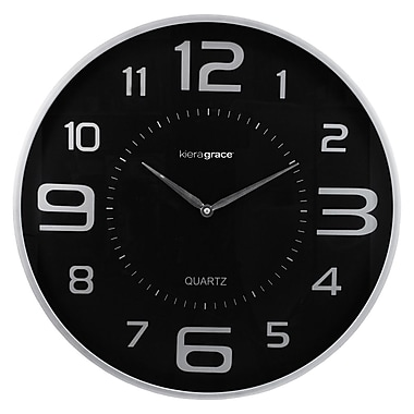 Kiera Grace - Horloge murale ronde HO85117-8 Austin, 18 po, noir/argent