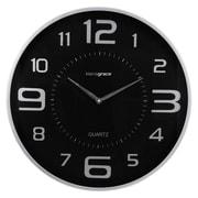 "Kiera Grace HO85117-8 Austin Round Wall Clock, 18"", Black/ Silver"
