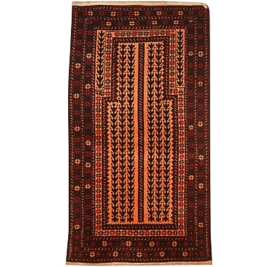 Herat Oriental Balouchi Hand-Knotted Peach/Red Area Rug