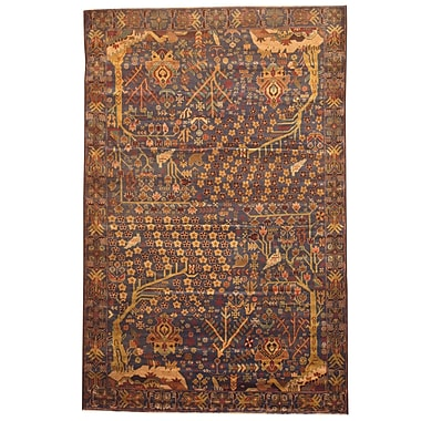 Herat Oriental Balouchi Hand-Knotted Navy/Olive Area Rug