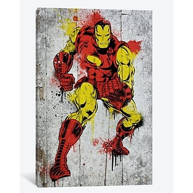 iCanvas Marvel Comic Bookiron Man Spray Paint B Graphic Art on Canvas; 40'' H x 26'' W x 0.75'' D