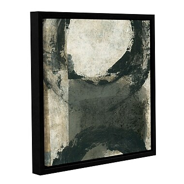ArtWall Abstract Gray w/ Black Circles by Elena Ray Framed Painting Print on Wrapped Canvas