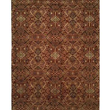 Wildon Home Hand-Woven Brown/Red Area Rug; 2' x 3'