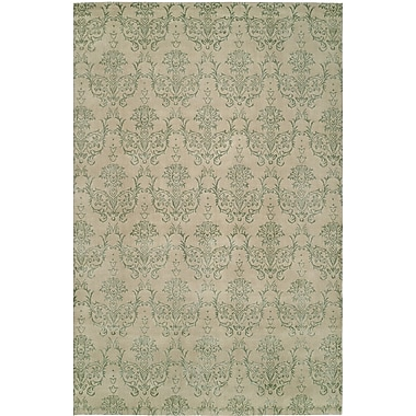 Wildon Home Hand-Woven Beige/Green Area Rug; 6' x 9'